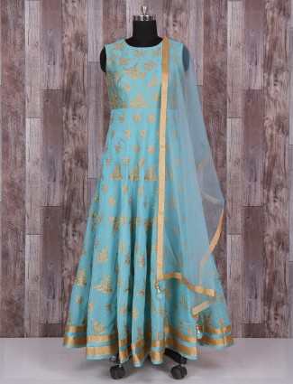Blue silk wonderful wedding anarkali suit