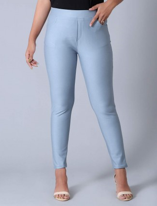 Blue solid cotton jeggings