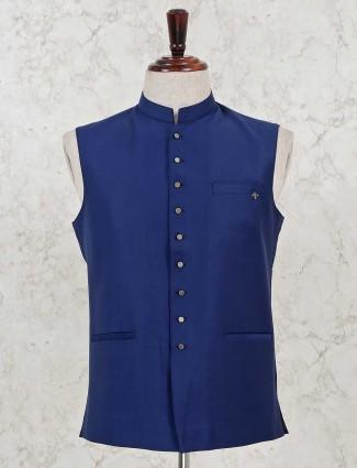 Blue solid party wear cotton silk waistcoat