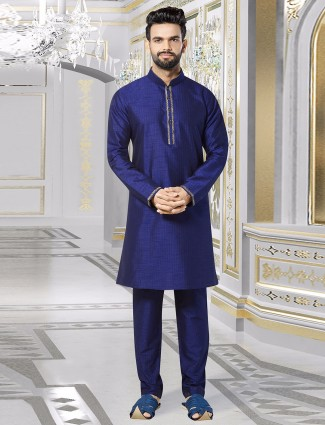 Blue solid silk kurta suit