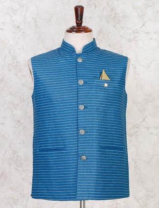 Blue strip cotton silk stand collar waistcoat
