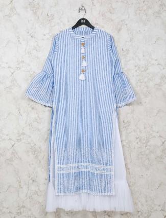 Blue stripe festive wear tunic in cotton