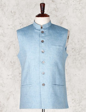 Blue stripe patern cotton silk mens waistcoat