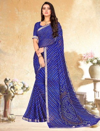 Blue stylish bandhej print georgette saree for festival