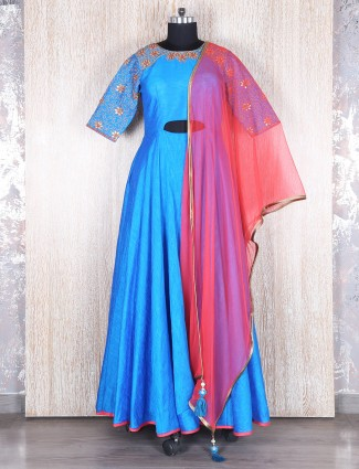 Blue stylish raw silk anarkali suit