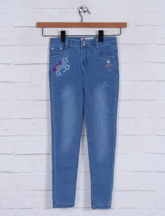 Blue washed effect jeans for girls