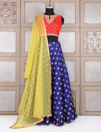Blue wdding wear lehenga choli in silk fabric