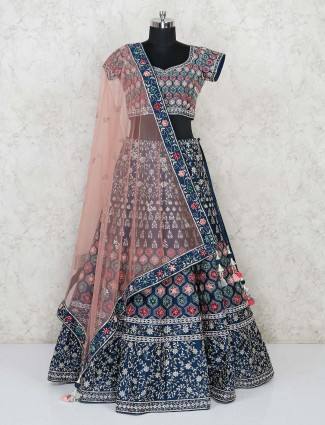 Blue wedding deisgner lehenag choli in silk