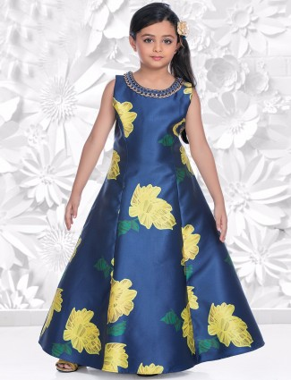 Blue yellow silk gown