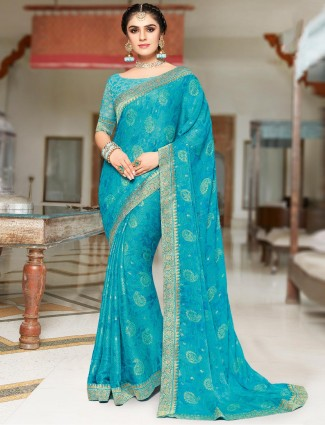 Blue zari weaving chiffon saree