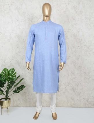 Blue zitter patern cotton kurta suit