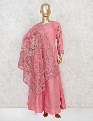Blush pink anarkali dress with heavy embellished dupatta