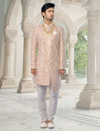 Blushing Peach Indo Western set exclusive wedding