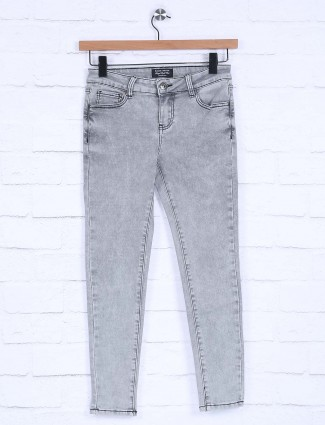 Boom grey color solid jeans