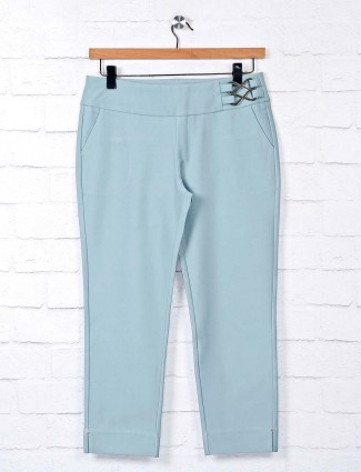 Boom mint green solid cotton jeggings