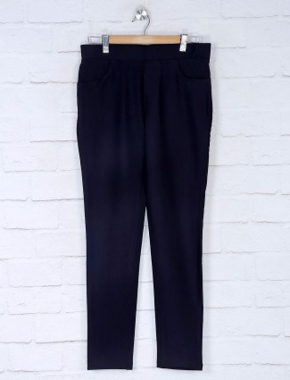Boom navy blue cotton slim fit jeggings