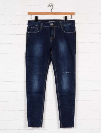 Boom navy blue washed denim casual denim jeans