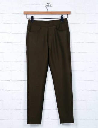 Boom olive green casual jeggings for women