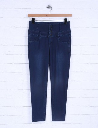 Boom plain pattern navy jeans