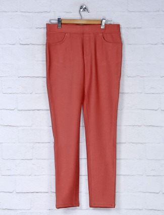 Boom solid peach jeggings in cotton