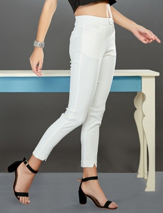 Boom white casual wear cotton jeggings