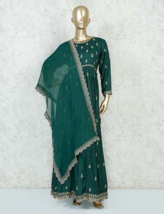 Bottle green anarkali salwar suit for the wedding