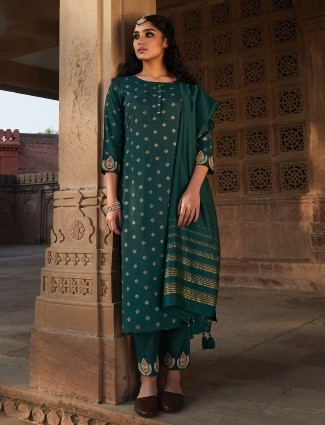 Bottle green cotton festive punjabi pant suit