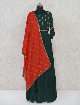 Bottle green cotton floor length anarkali salwar suit
