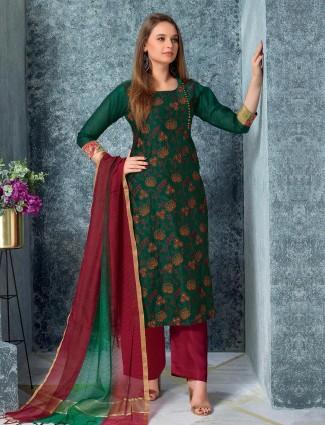 Bottle green cotton punjabi salwar suit