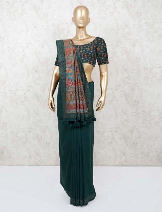 Bottle green cotton saree with designer pallu