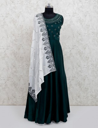 Bottle green cotton silk festive floor length anarkali suit