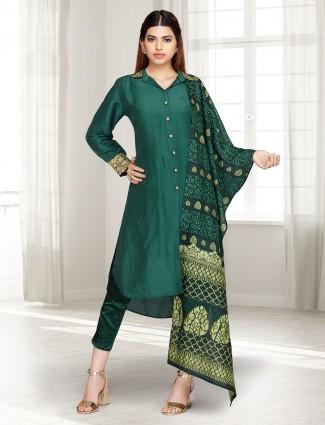 Bottle green cotton silk punjabi pant suit