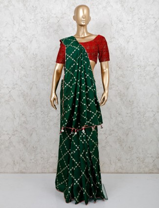 Bottle green cotton silk saree for wedding events