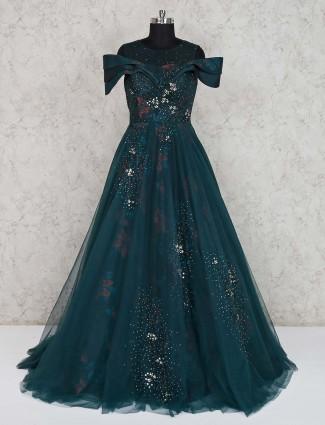 Bottle green designer net gown