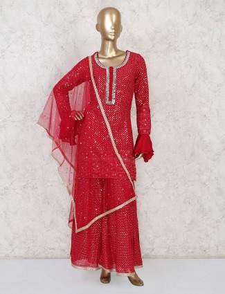 Bottle green designer punjabi sharara suit for wedding days