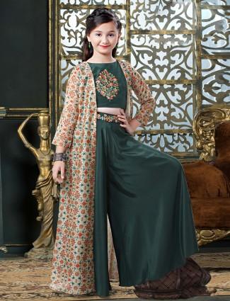 Bottle green designer silk punjabi palazzo suit