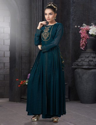 Bottle green georgette anarkali palazzo suit