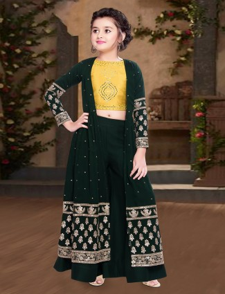 Bottle green georgette indo western palazzo suit
