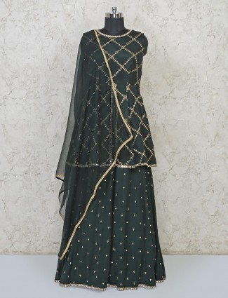 Bottle green georgette lehenga style salwar suit