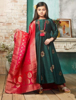 Bottle green hued raw silk anarkali suit for party
