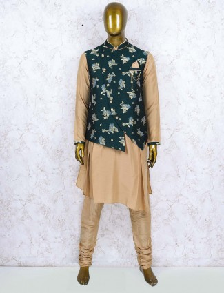 Bottle green hued raw silk waistcoat set