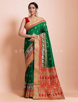Bottle green hydrabadi patola silk designer saree