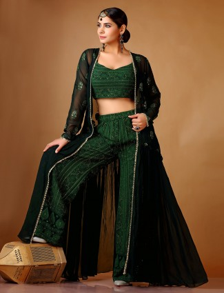Bottle Green indo western style georgette palazzo set