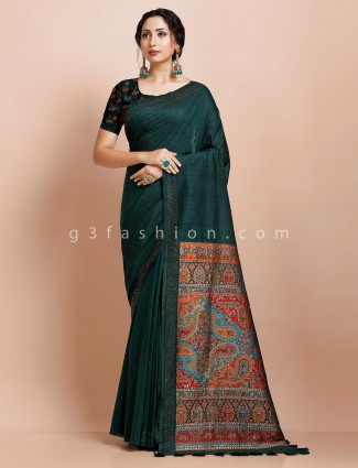 Bottle green pashmina silk new design saree