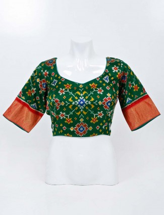 Bottle green patola silk readymade blouse with sweetheart neck