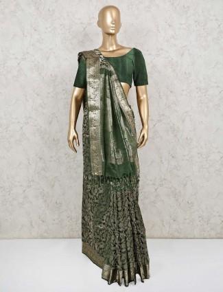 Bottle green pure banarasi silk reception saree