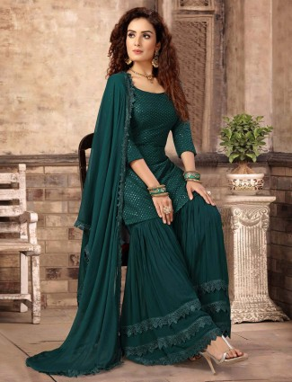 Punjabi green color party wear pakistani designer sharara suit