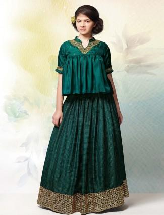 Bottle green silk fabric party wear lehenga choli