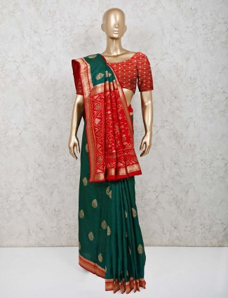Bottle green silk wedding saree