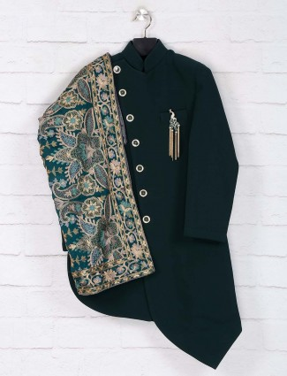 Bottle green solid terry rayon indo western